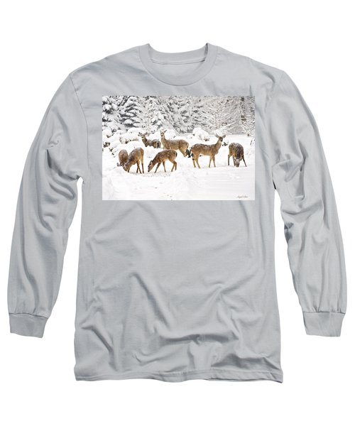 Long Sleeve T-Shirt featuring the photograph Deer In The Snow by Angel Cher