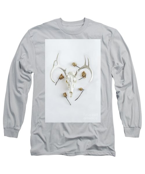 Long Sleeve T-Shirt featuring the photograph Deer Skull With Antlers And Roses by Stephanie Frey