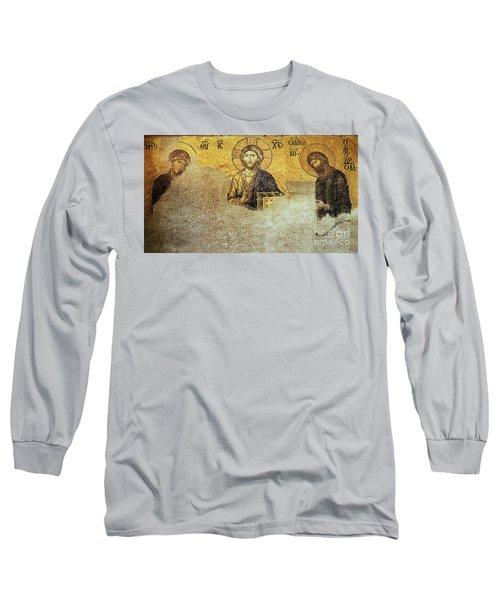 Deesis Mosaic Hagia Sophia-christ Pantocrator-judgement Day Long Sleeve T-Shirt