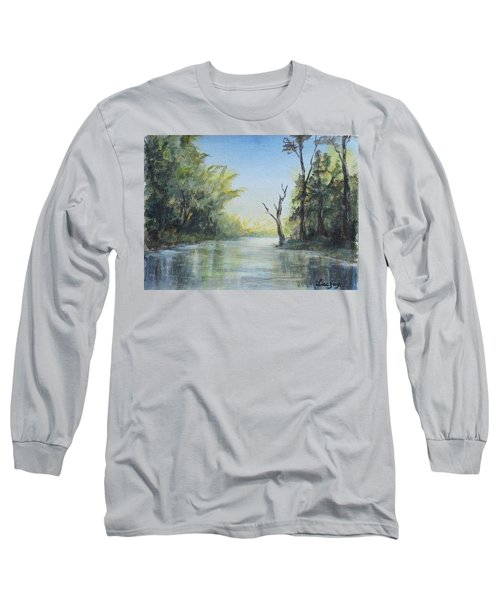 Long Sleeve T-Shirt featuring the painting Delaware River  by Luczay