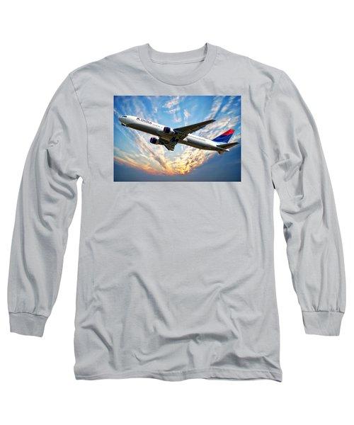 Delta Passenger Plane Long Sleeve T-Shirt by Anthony Dezenzio
