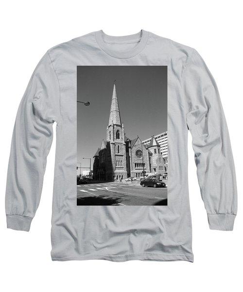 Denver Downtown Church Bw Long Sleeve T-Shirt by Frank Romeo