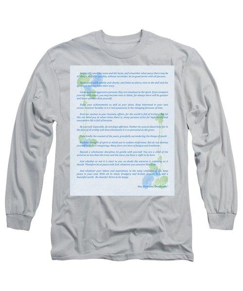 Desiderata In Blue Long Sleeve T-Shirt by Olga Hamilton