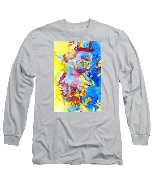 Dialogue In Yellow And Blue Long Sleeve T-Shirt