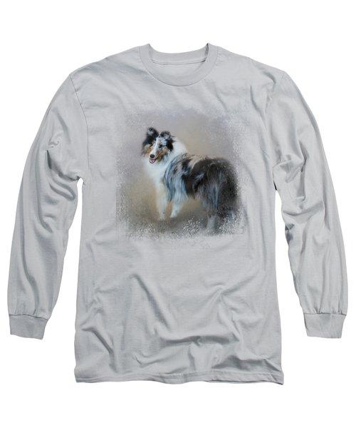 Did You Call Me - Blue Merle Shetland Sheepdog Long Sleeve T-Shirt by Jai Johnson