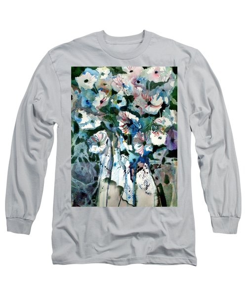 Long Sleeve T-Shirt featuring the painting Disney Petunias by Mindy Newman