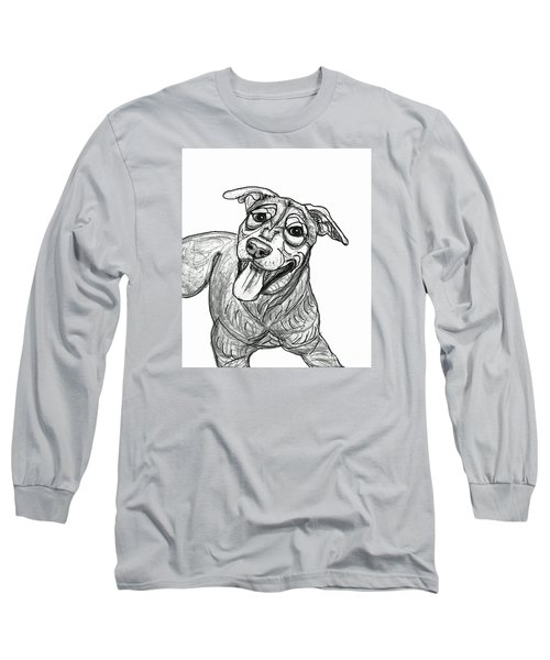 Long Sleeve T-Shirt featuring the drawing Dog Sketch In Charcoal 5 by Ania M Milo