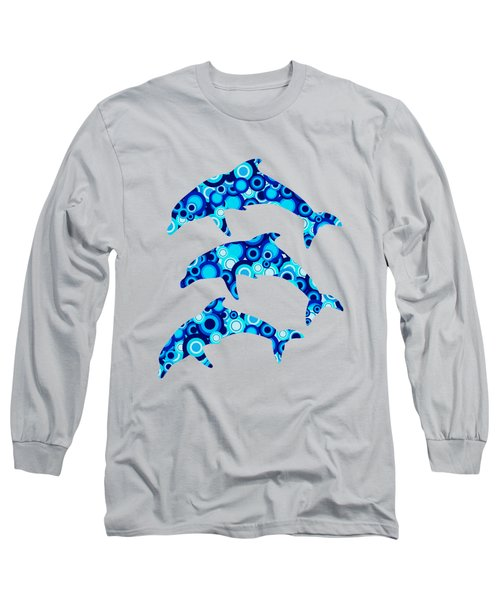 Dolphins - Animal Art Long Sleeve T-Shirt by Anastasiya Malakhova