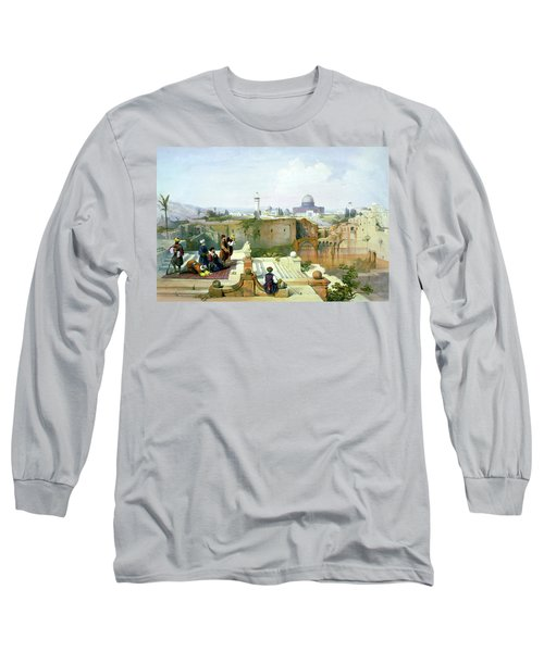 Dome Of The Rock In The Background Long Sleeve T-Shirt by Munir Alawi