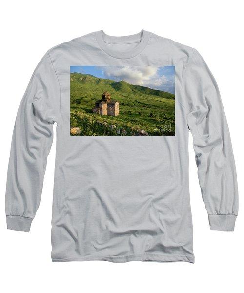Dorband Monastery In The Field, Armenia Long Sleeve T-Shirt by Gurgen Bakhshetsyan