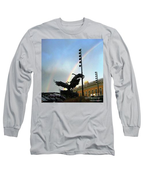 Double Rainbow Over Old Town Square Long Sleeve T-Shirt