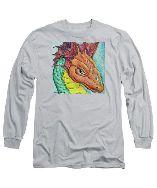 Long Sleeve T-Shirt featuring the drawing Dragon Portrait by Yulia Kazansky