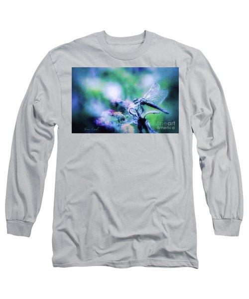 Dragonfly On Lantana-blue Long Sleeve T-Shirt by Toma Caul
