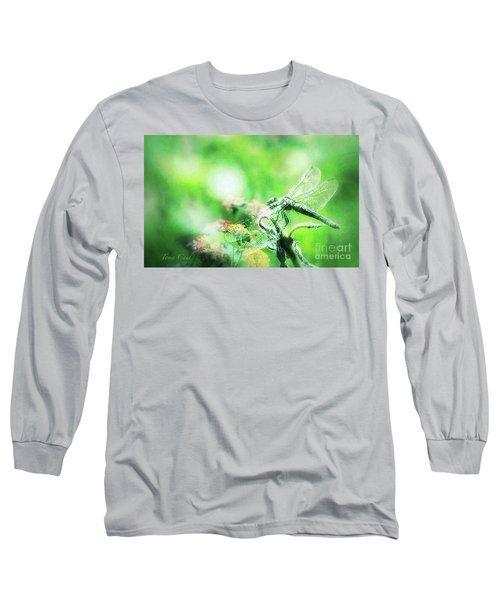 Dragonfly On Lantana-green Long Sleeve T-Shirt by Toma Caul