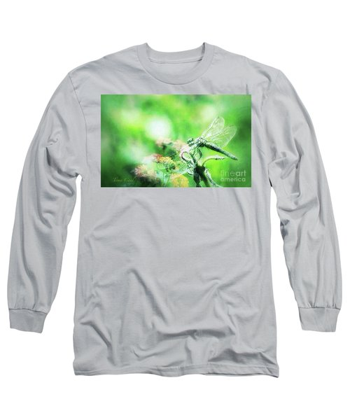 Dragonfly On Lantana-green Long Sleeve T-Shirt