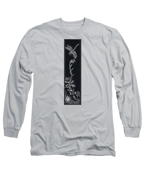 Long Sleeve T-Shirt featuring the drawing Dragonfly With Catspaw And Bug by Dawn Senior-Trask
