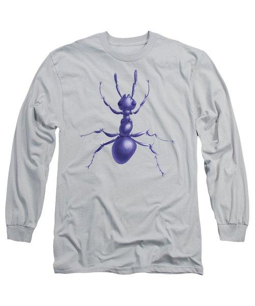 Drawn Purple Ant Long Sleeve T-Shirt by Boriana Giormova