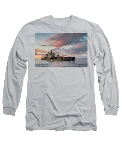 Long Sleeve T-Shirt featuring the photograph Dredging Ship by Greg Nyquist