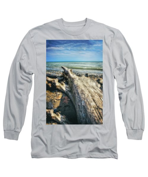 Driftwood On Beach - Grant Park - Lake Michigan Shoreline Long Sleeve T-Shirt by Jennifer Rondinelli Reilly - Fine Art Photography