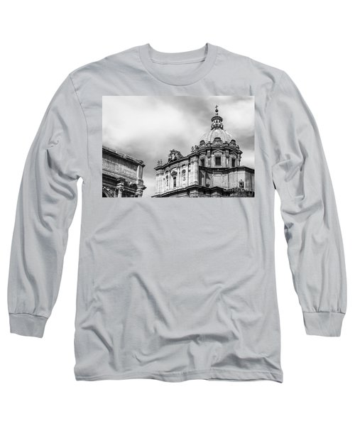 Duomo Of Santi Luca E Martina And Arch Of Septimius Severus  Long Sleeve T-Shirt