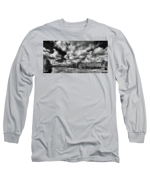 Long Sleeve T-Shirt featuring the photograph Dusting Of Snow On The River by David Patterson
