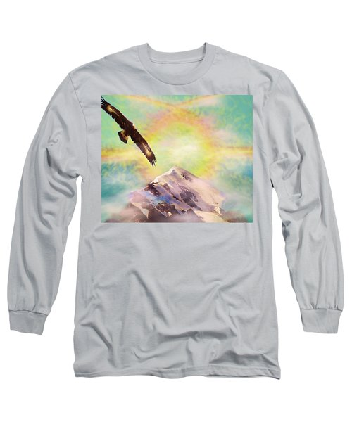 Long Sleeve T-Shirt featuring the painting Eagle And Fire Rainbow Over Mt Tetnuldi Caucasus by Anastasia Savage Ealy