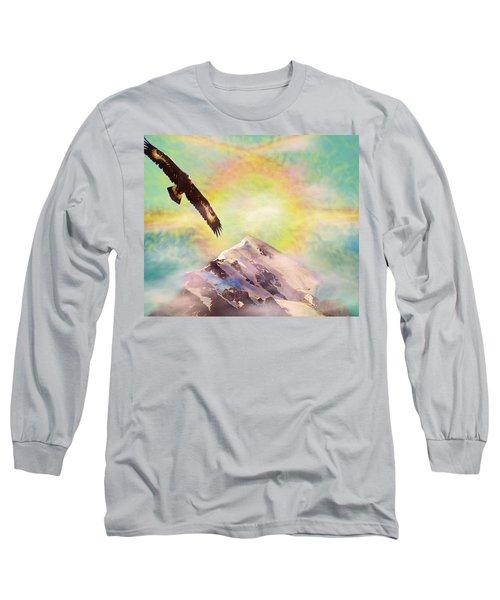 Eagle And Fire Rainbow Over Mt Tetnuldi Caucasus II Long Sleeve T-Shirt