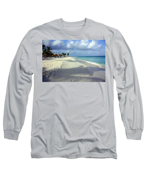 Long Sleeve T-Shirt featuring the photograph Eagle Beach Aruba by Suzanne Stout