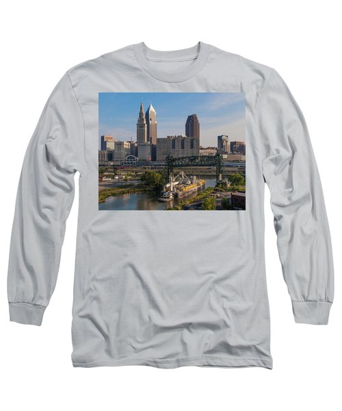 Early Morning Transport On The Cuyahoga River Long Sleeve T-Shirt