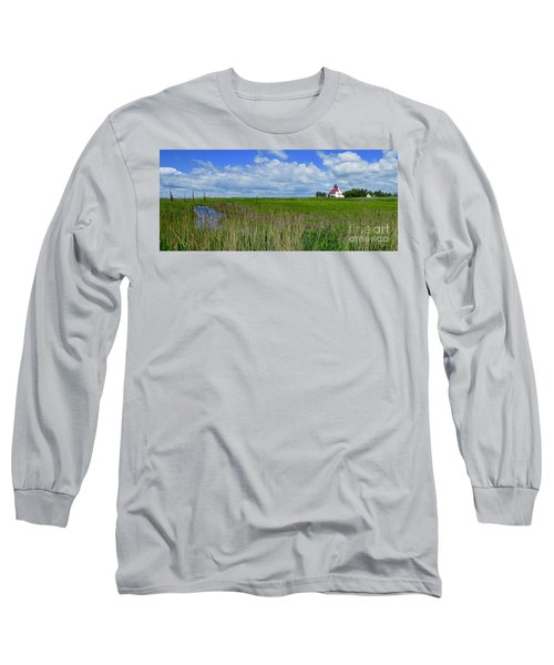 East Point Lighthouse Across The Marsh  Long Sleeve T-Shirt by Nancy Patterson