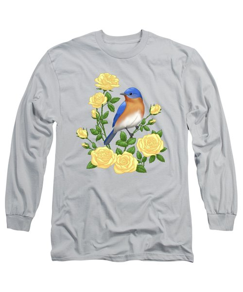 Eastern Bluebird And Yellow Roses Long Sleeve T-Shirt