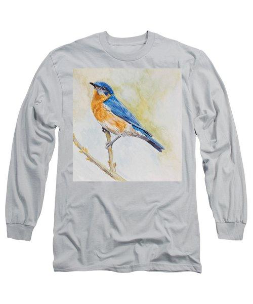 Eastern Mountain Bluebird Long Sleeve T-Shirt by Robert Decker