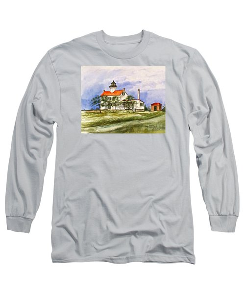 Long Sleeve T-Shirt featuring the painting East Point Lighthouse Glory Days  by Nancy Patterson