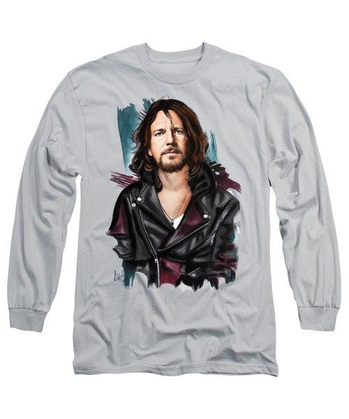 Eddie Vedder Long Sleeve T-Shirt by Melanie D