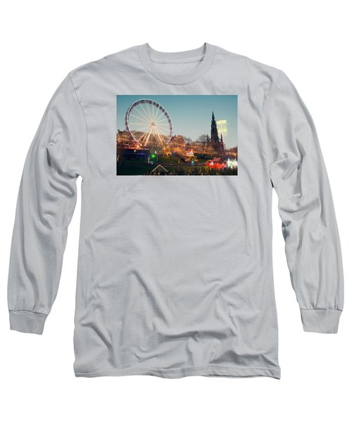Long Sleeve T-Shirt featuring the photograph Edinburgh And The Big Wheel by Ray Devlin