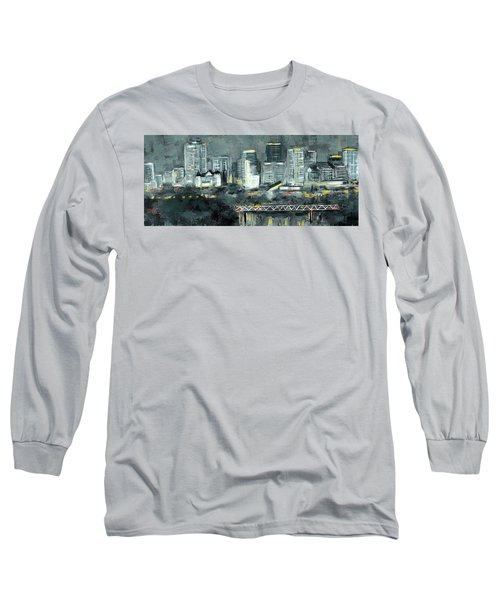 Edmonton Cityscape Painting Long Sleeve T-Shirt