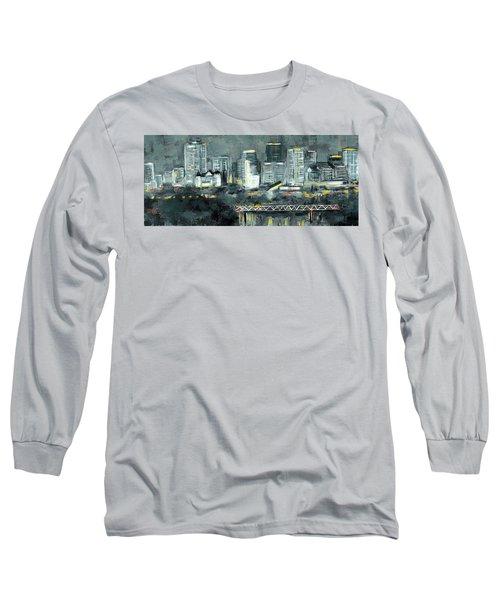 Edmonton Cityscape Painting Long Sleeve T-Shirt