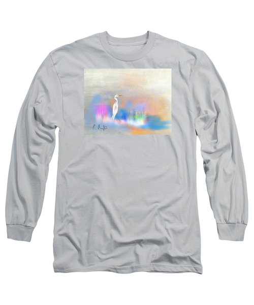 Egret Grace Abstract Long Sleeve T-Shirt by Frank Bright