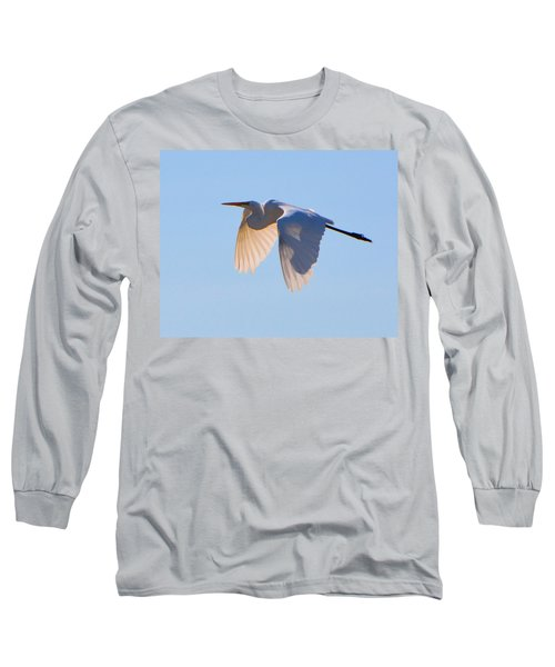 Egret In Silhouette Long Sleeve T-Shirt