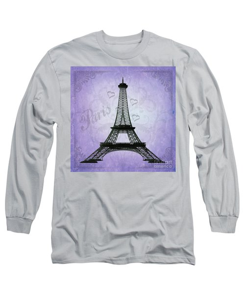Eiffel Tower Collage Purple Long Sleeve T-Shirt by Jim And Emily Bush