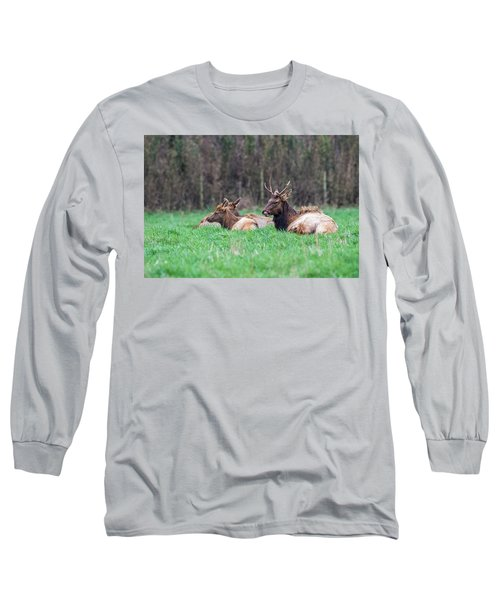 Long Sleeve T-Shirt featuring the photograph Elk Relaxing by Paul Freidlund