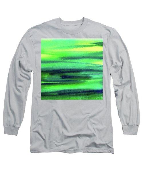 Emerald Flow Abstract Painting Long Sleeve T-Shirt by Irina Sztukowski