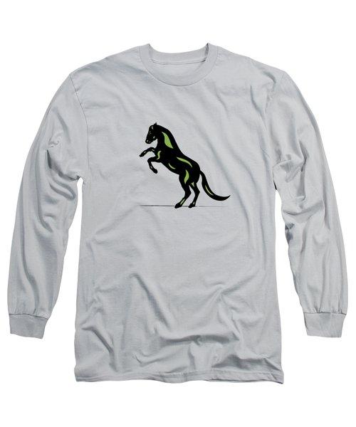 Emma - Pop Art Horse - Black, Greenery, Island Paradise Blue Long Sleeve T-Shirt