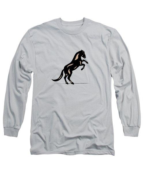 Emma II - Pop Art Horse - Black, Hazelnut, Island Paradise Blue Long Sleeve T-Shirt