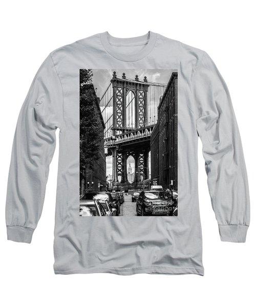 Empire State Building Framed By Manhattan Bridge Long Sleeve T-Shirt