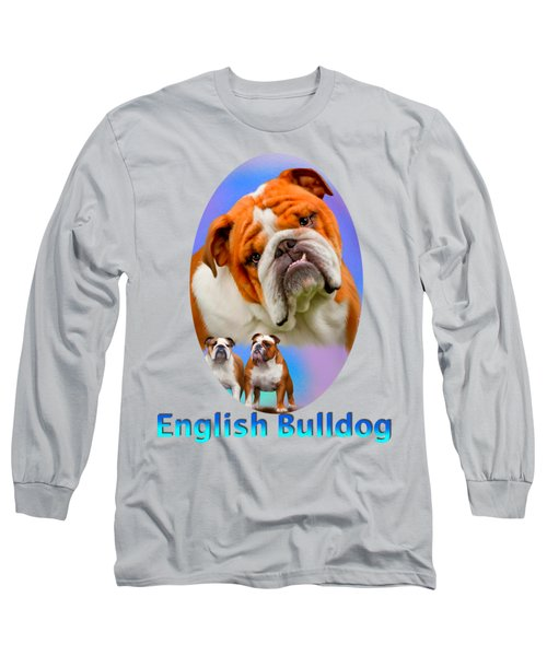 English Bulldog With Border Long Sleeve T-Shirt