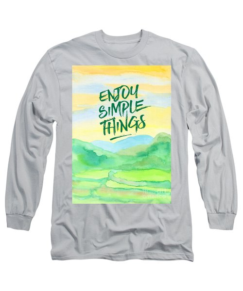 Enjoy Simple Things Rice Paddies Watercolor Painting Long Sleeve T-Shirt