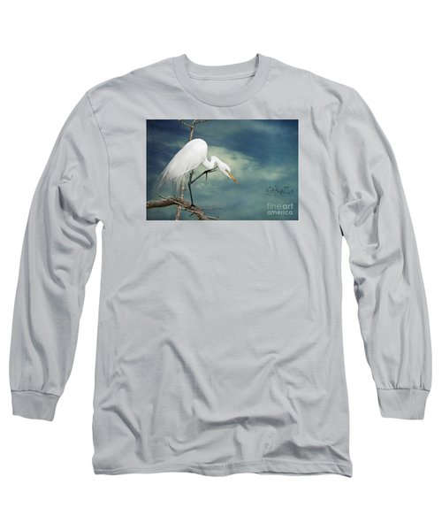 Evangeline Parish Egret Long Sleeve T-Shirt by Bonnie Barry