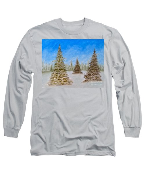 Evergreens In Snowy Field Enhanced Colors Long Sleeve T-Shirt