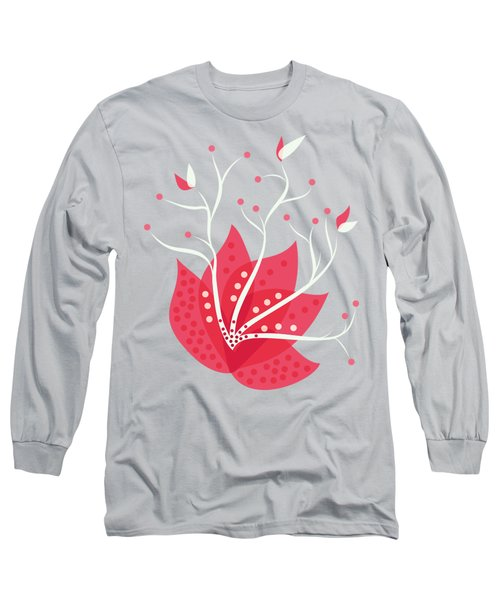Exotic Pink Flower And Dots Long Sleeve T-Shirt